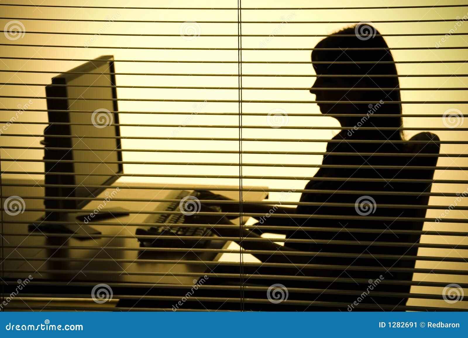 Silhouette d ordinateur fonctionnant de femme (abat-jour)