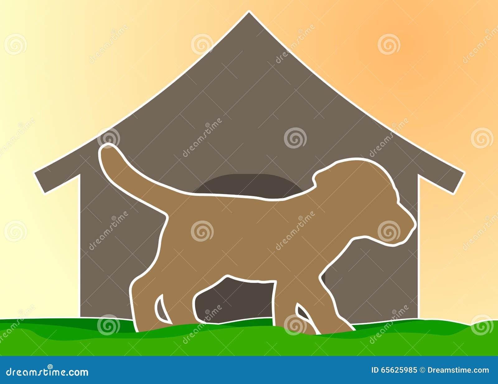 Silhouette d un chien sur le fond du chenil