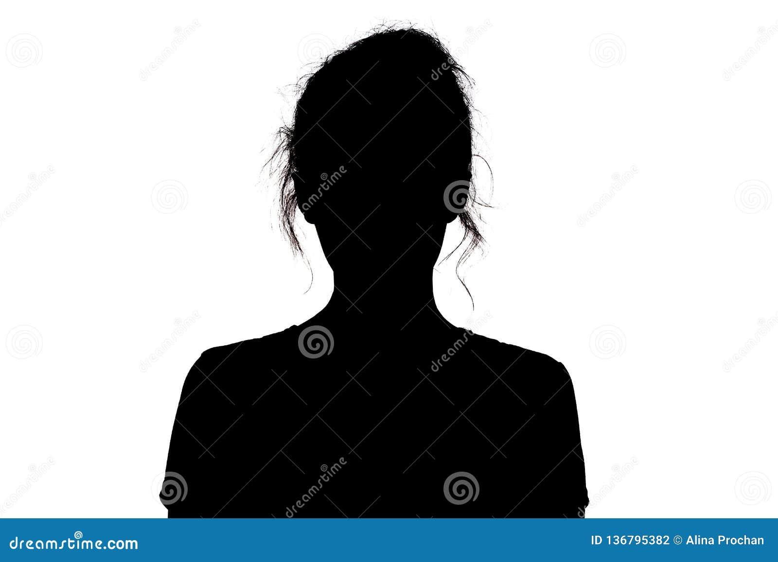 Silhouette d une fille regardant avec confiance en avant, la tête d une jeune femme avec une boucle sur un fond d isolement blanc