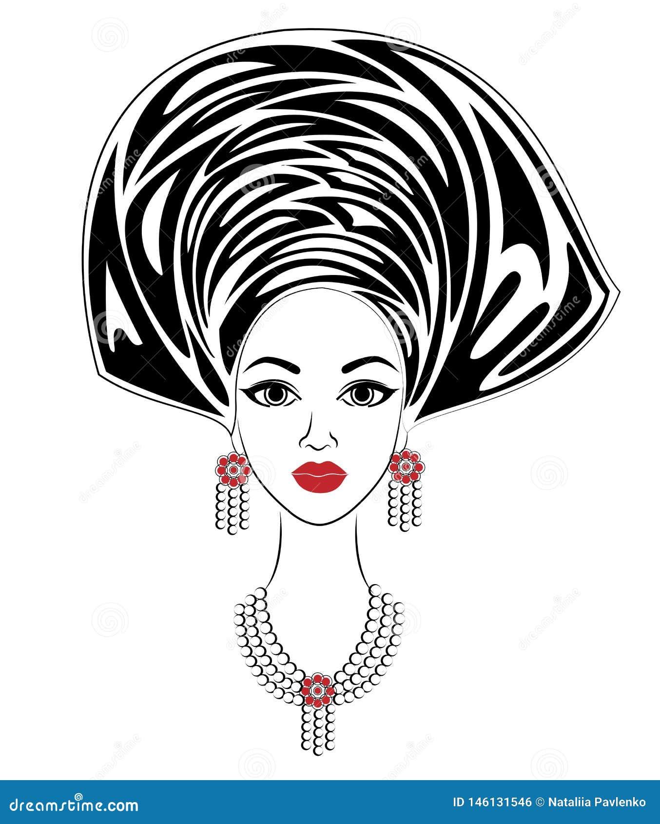 Silhouette d une tête d une dame douce Un châle lumineux et un turban sont attachés sur la tête d une fille afro-américaine La fe