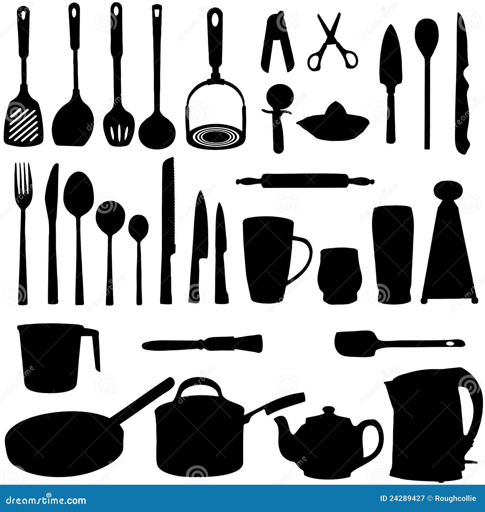Silhouette d 39 ustensiles de cuisine photographie stock - Instrument de cuisine ...