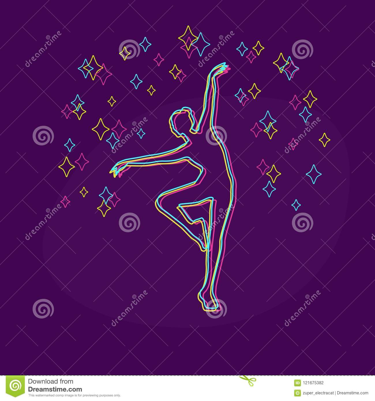Silhouette Of A Dancing Girl And Stars Stock Vector Illustration