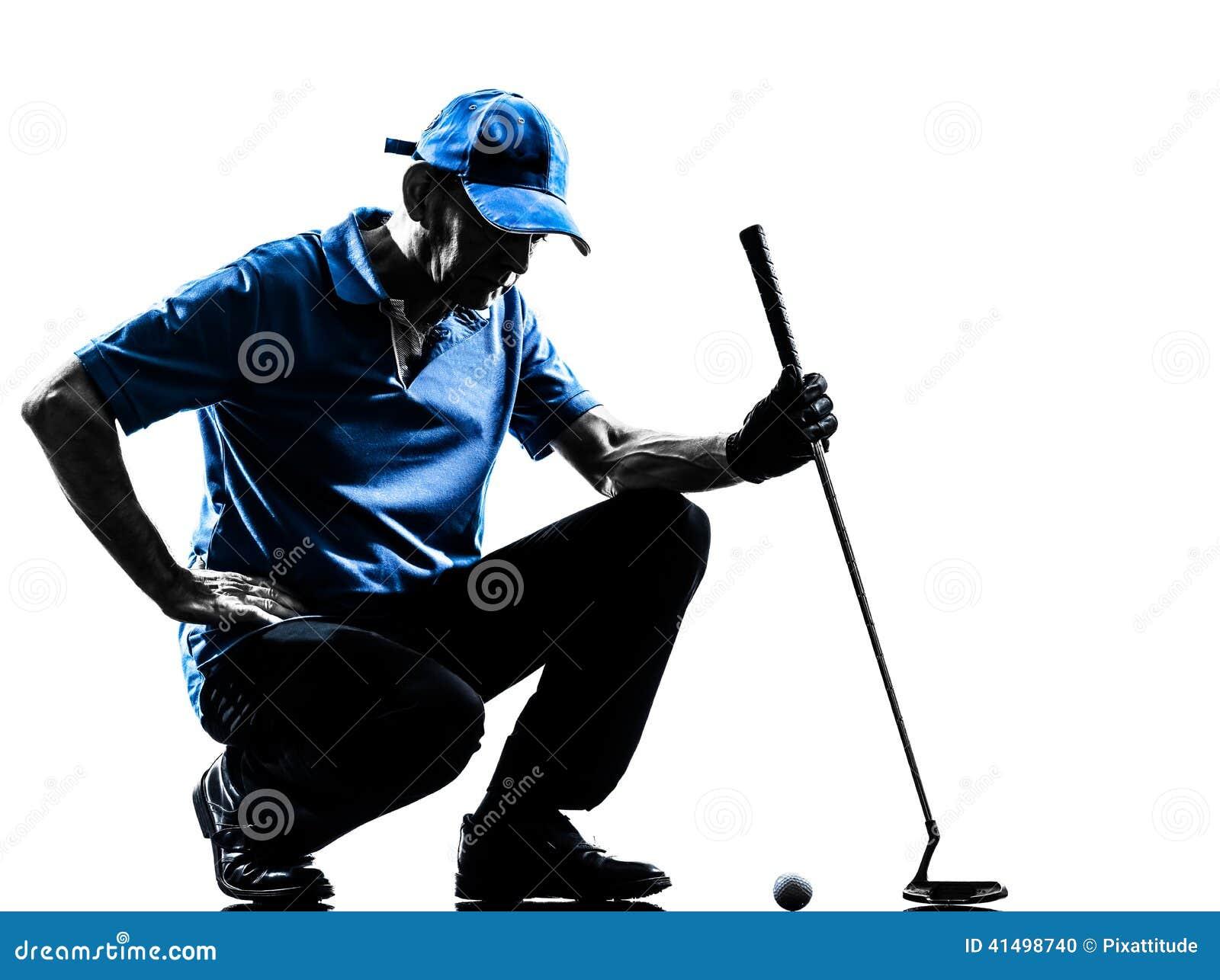 Silhouette de acroupissement jouante au golf de golfeur d homme