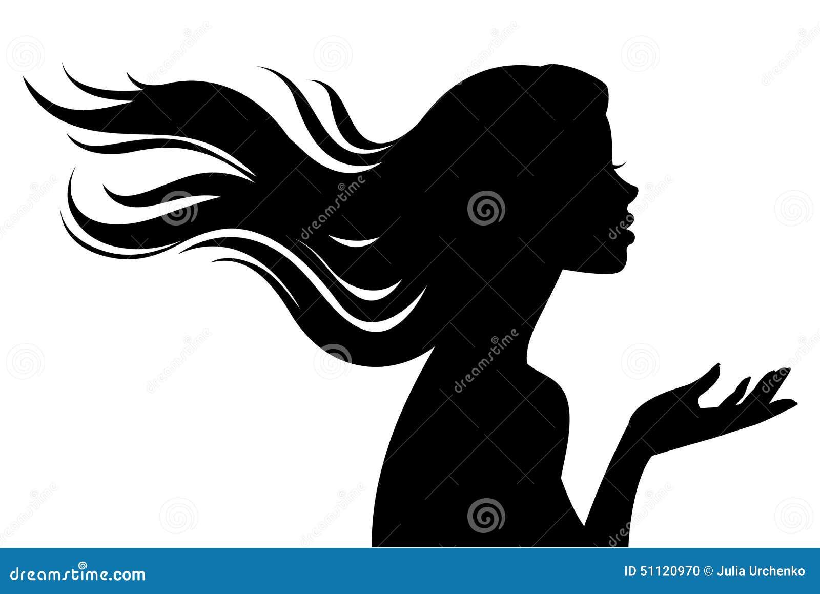 Silhouette De Belle Fille Dans Le Profil Avec De Longs