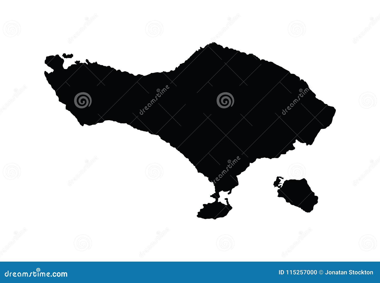 Bali Carte Continent.Silhouette De Carte De Bali Illustration Stock