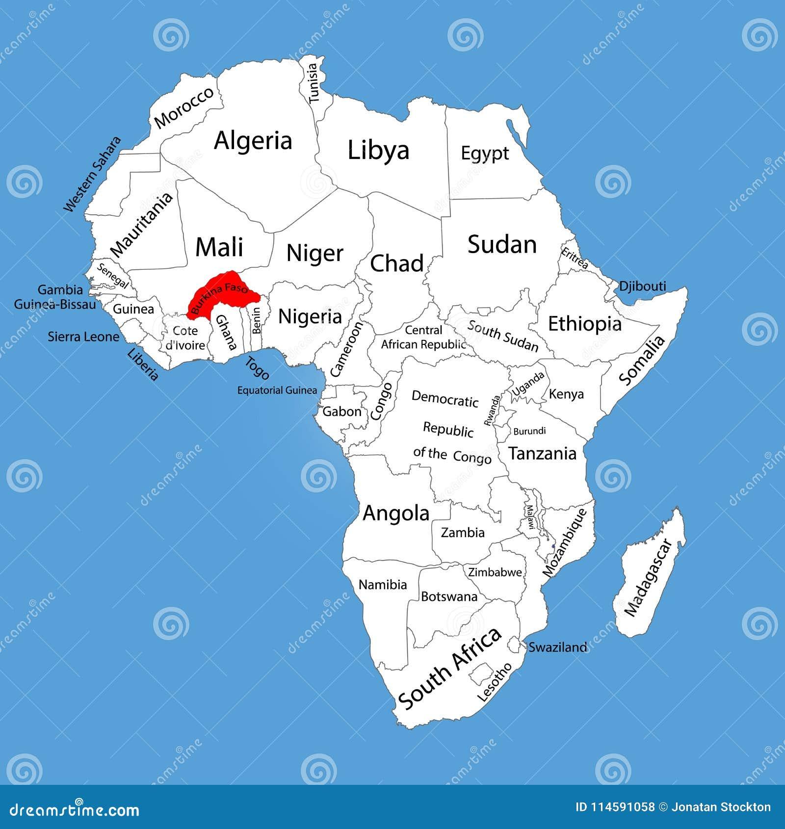burkina faso carte afrique Silhouette De Carte Du Burkina Faso D'isolement Sur La Carte De L