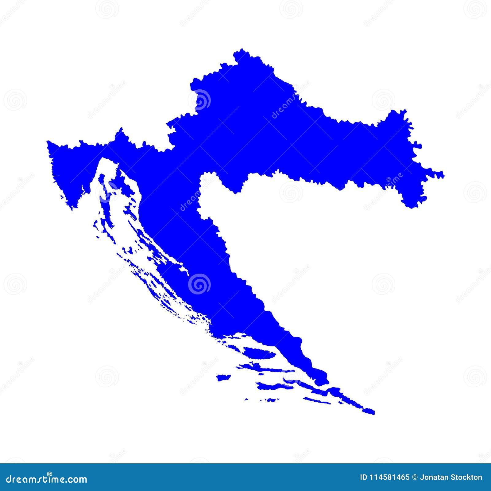 Carte Cote Croatie.Silhouette De Carte De La Croatie Cote Adriatique Illustration Stock