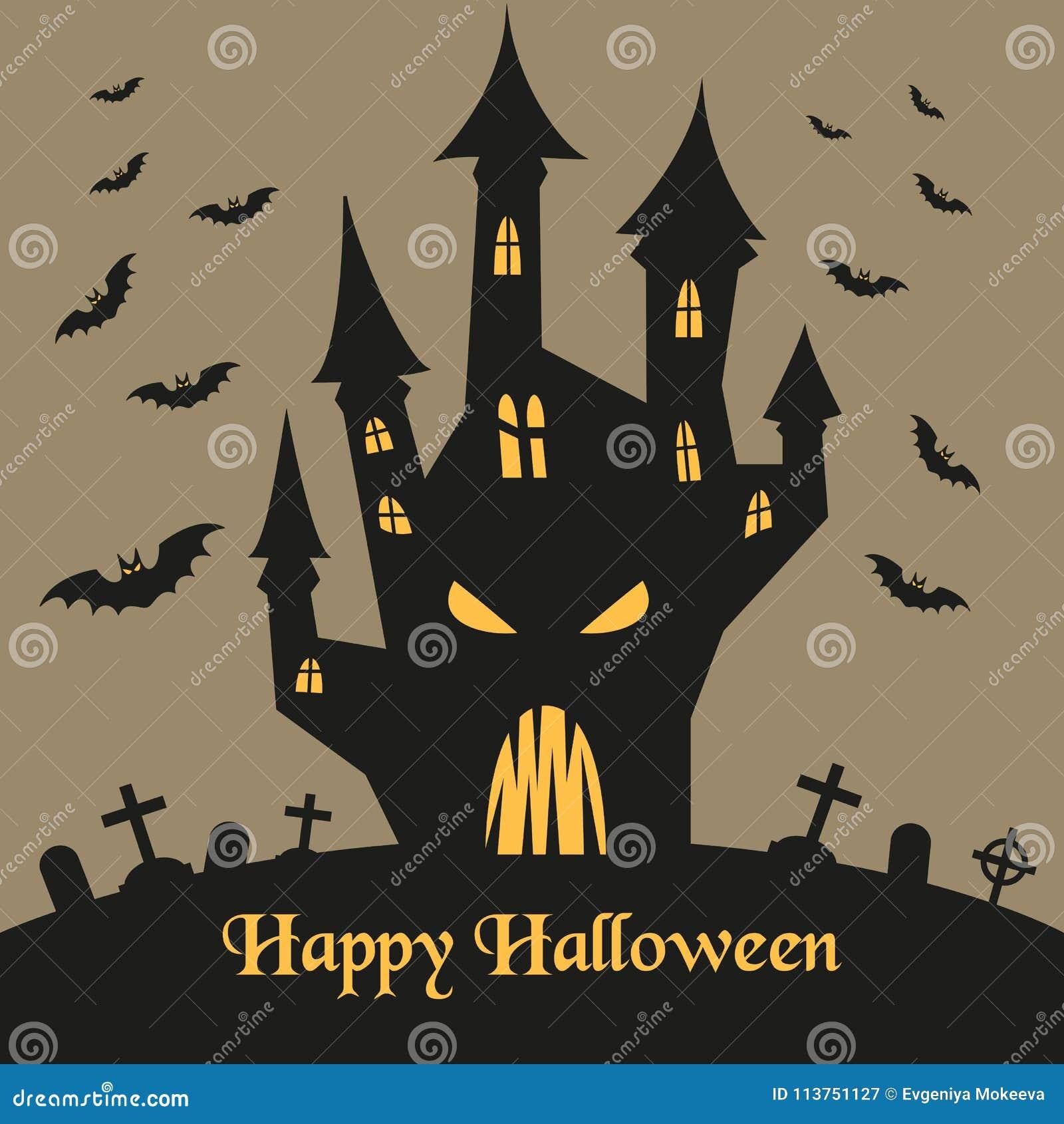 Silhouette de château et de battes de Halloween