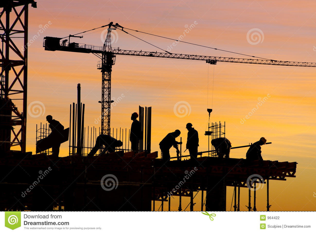 Silhouette de chantier de construction