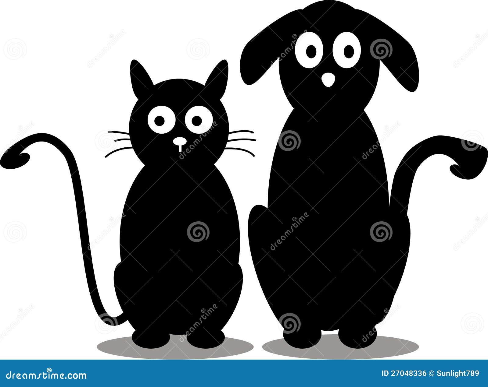 Silhouette de chat et de crabot