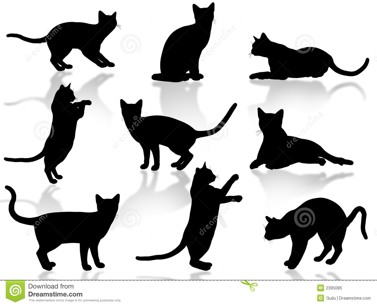 Silhouette de chats photo libre de droits image 2395085 - Dessin silhouette chat ...