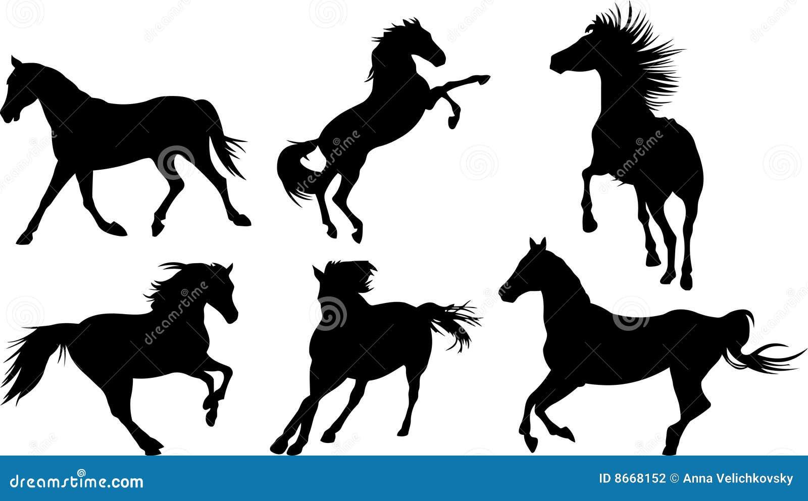 Silhouette de cheval de ramassage