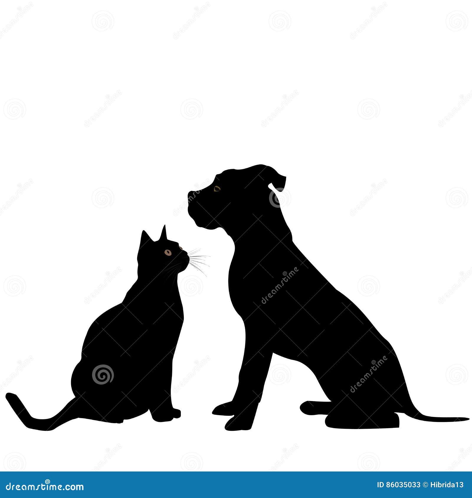 Silhouette de chien et de chat