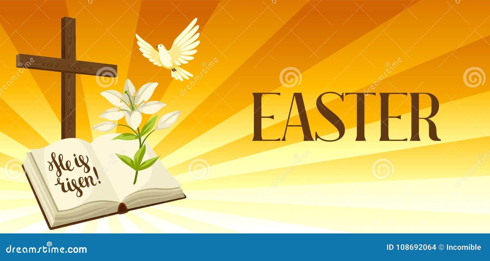Silhouette de croix en bois avec la bible, le lis et la colombe Carte de voeux heureuse d illustration ou de concept de Pâques re