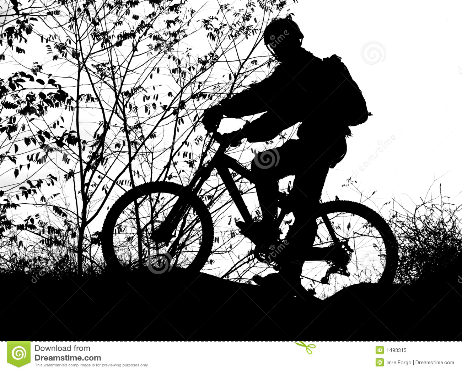Silhouette de cycliste de montagne photo libre de droits - Dessin cycliste ...