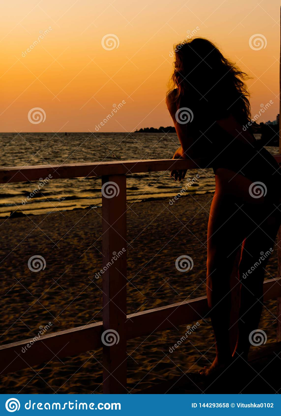 Silhouette de femme dans le maillot de bain avec la mer se tenante prêt débordante de cheveux
