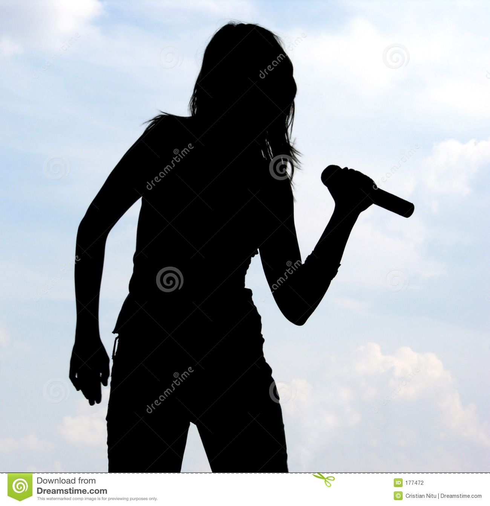 Silhouette de fille chanteuse