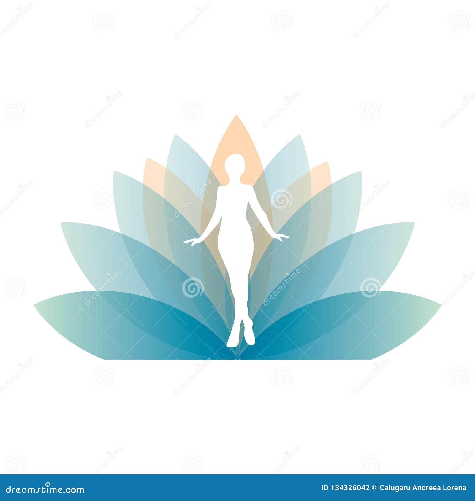 Silhouette de fille en fleur de lotus géante