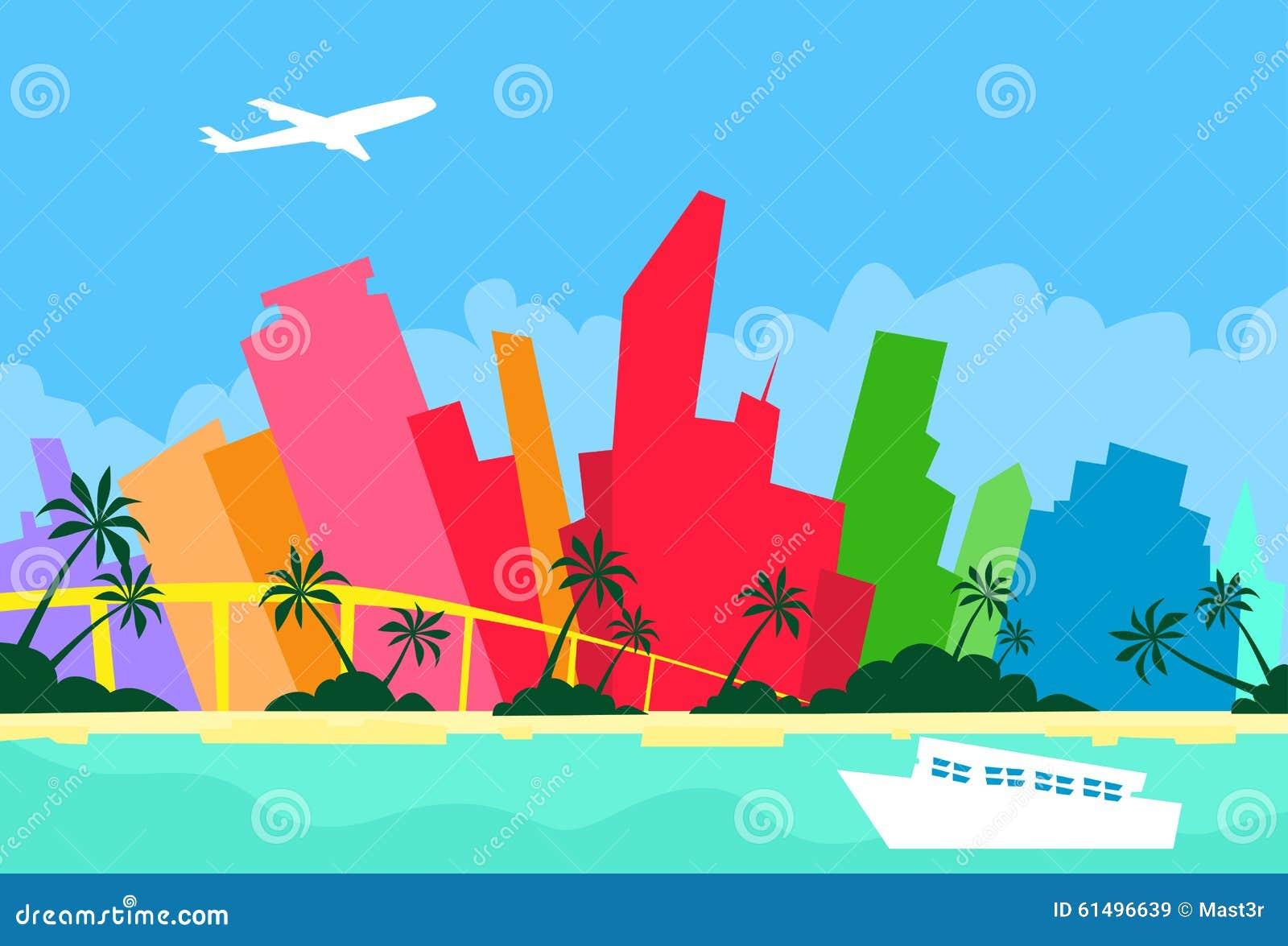 Silhouette de gratte-ciel de ville d horizon d abrégé sur de Miami