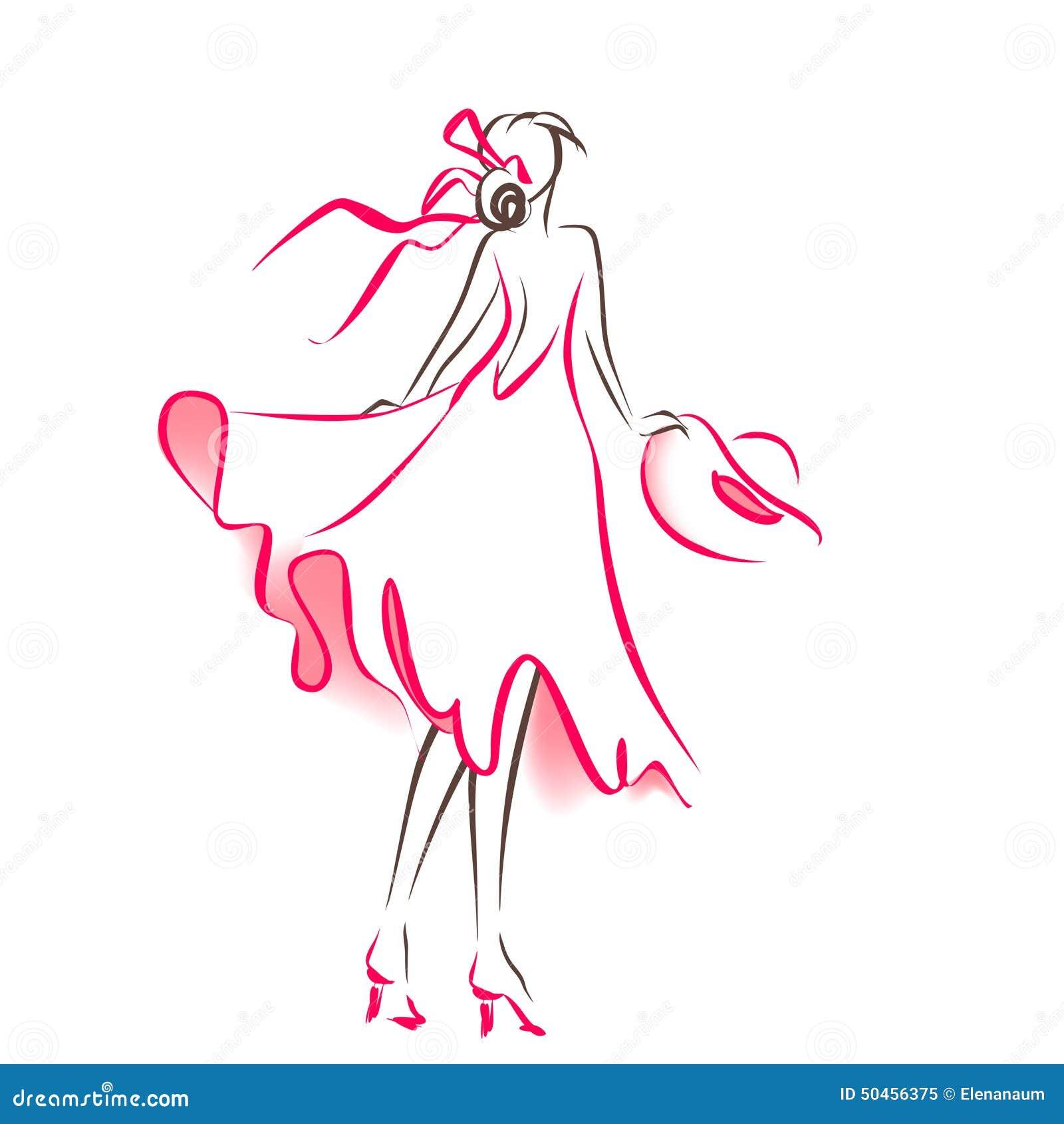 silhouette de griffonnage de femme illustration de vecteur