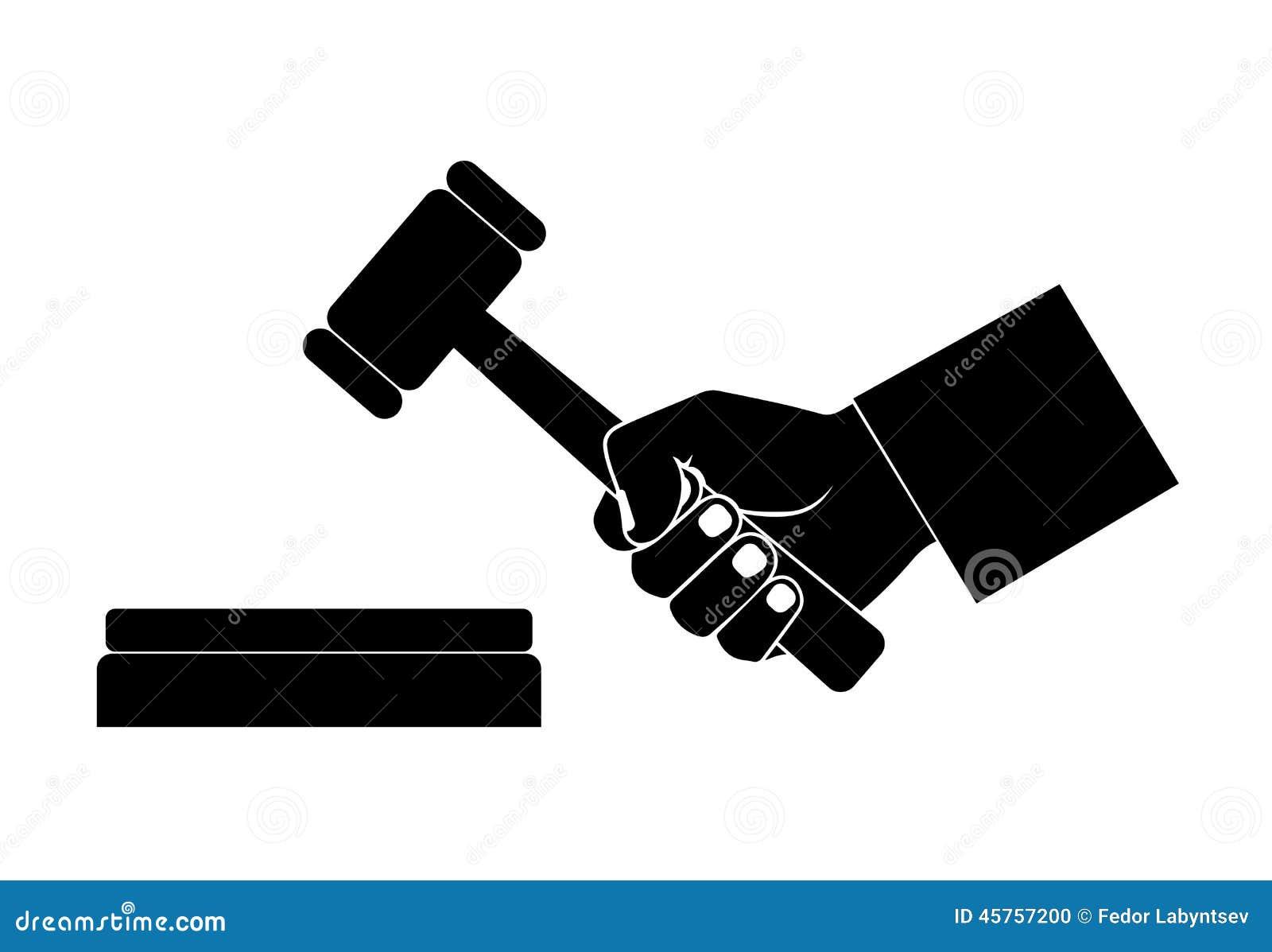 Silhouette de la main avec un marteau
