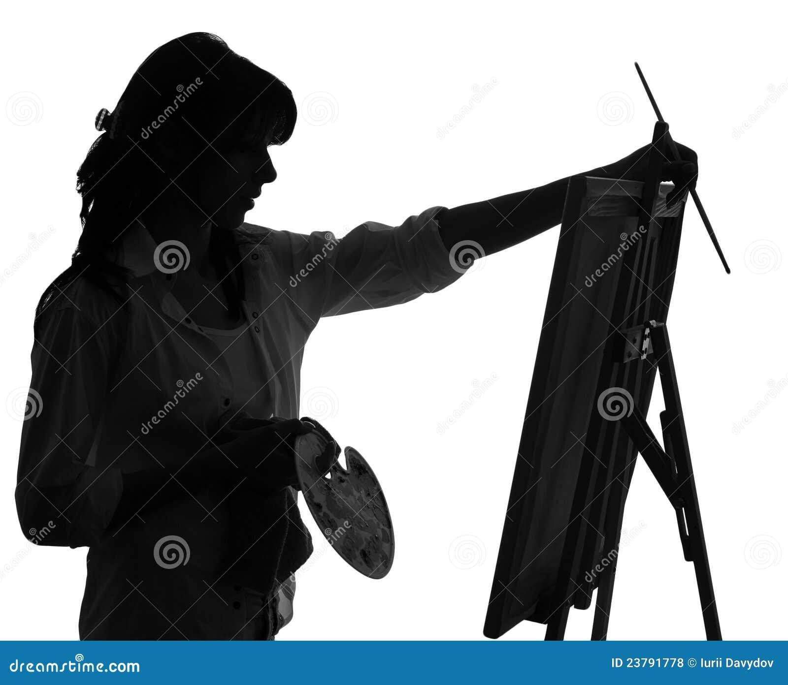 Silhouette De La Peinture D Artiste De Femme Photo Stock Image Du Peinture Femme 23791778