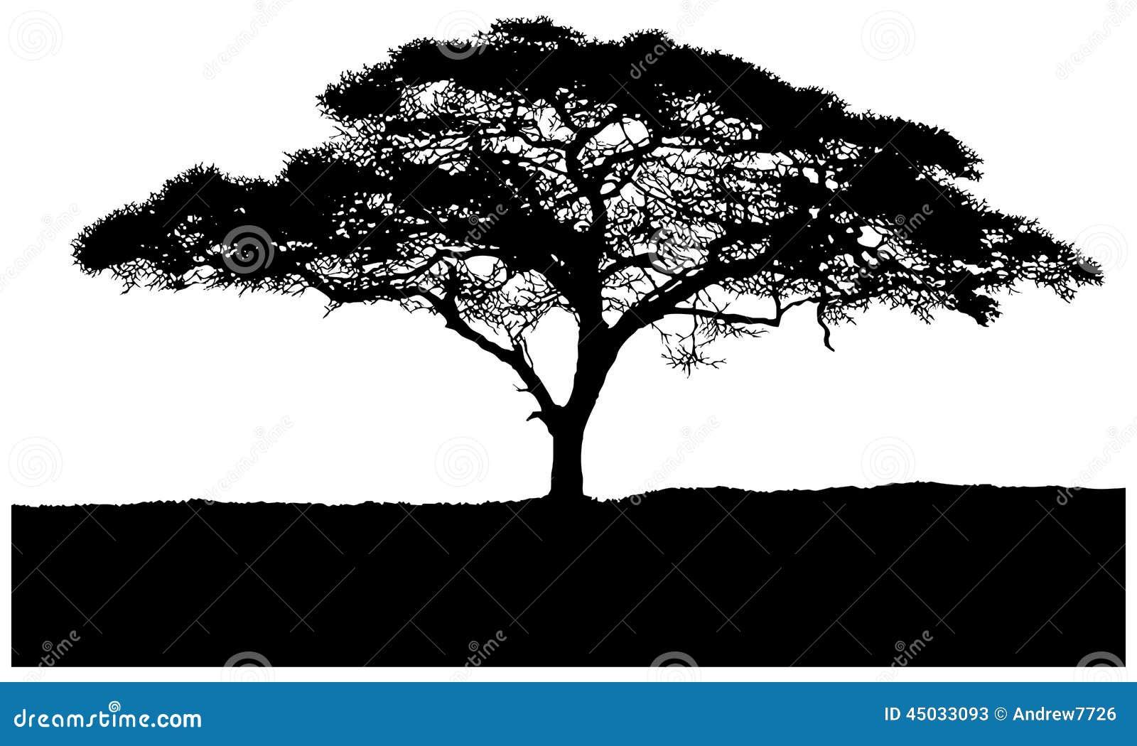 Silhouette de la savane d 39 africain d 39 arbre illustration stock image 45033093 - Arbre africain en 7 lettres ...