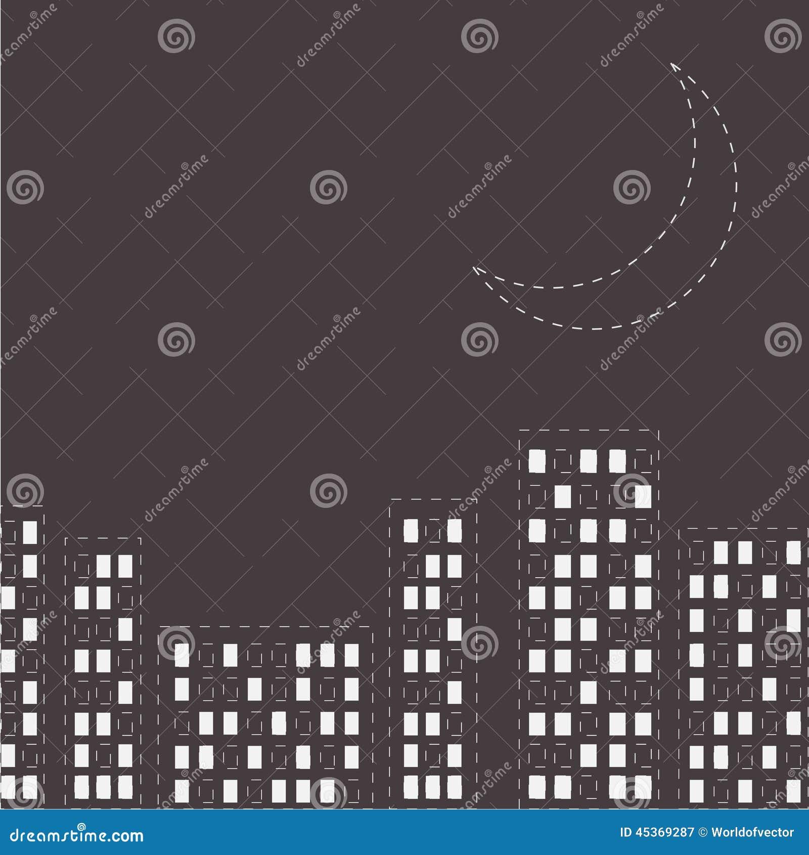Silhouette de la ville de nuit Ligne lune de tiret dans le ciel Conception plate