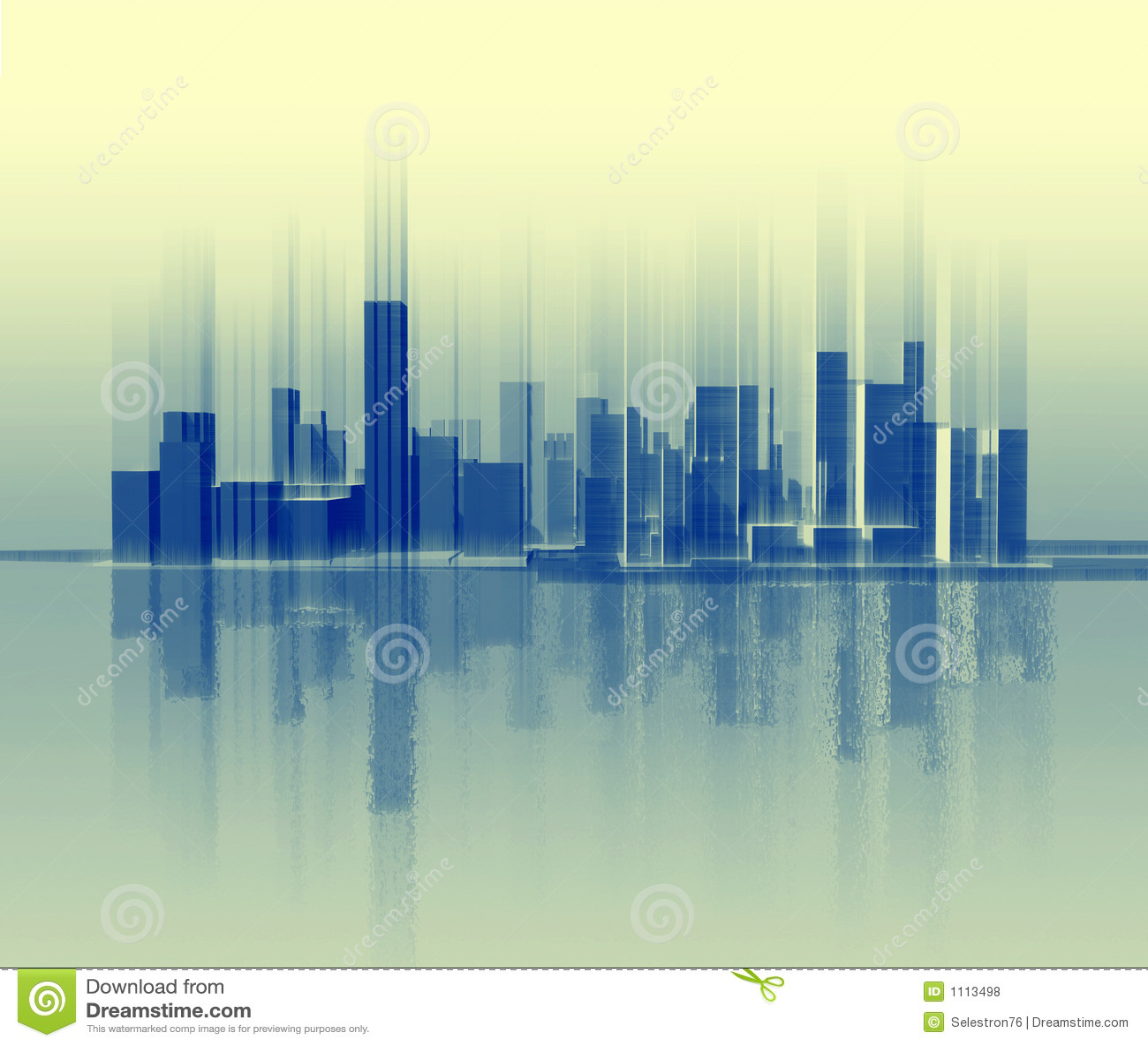 Silhouette de la ville qui est semblable à une onde sonore