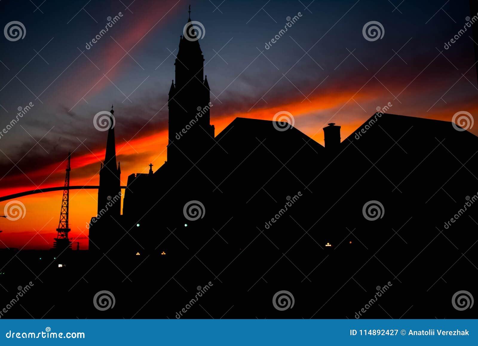 Silhouette de la ville sur le lever de soleil Nashville TN