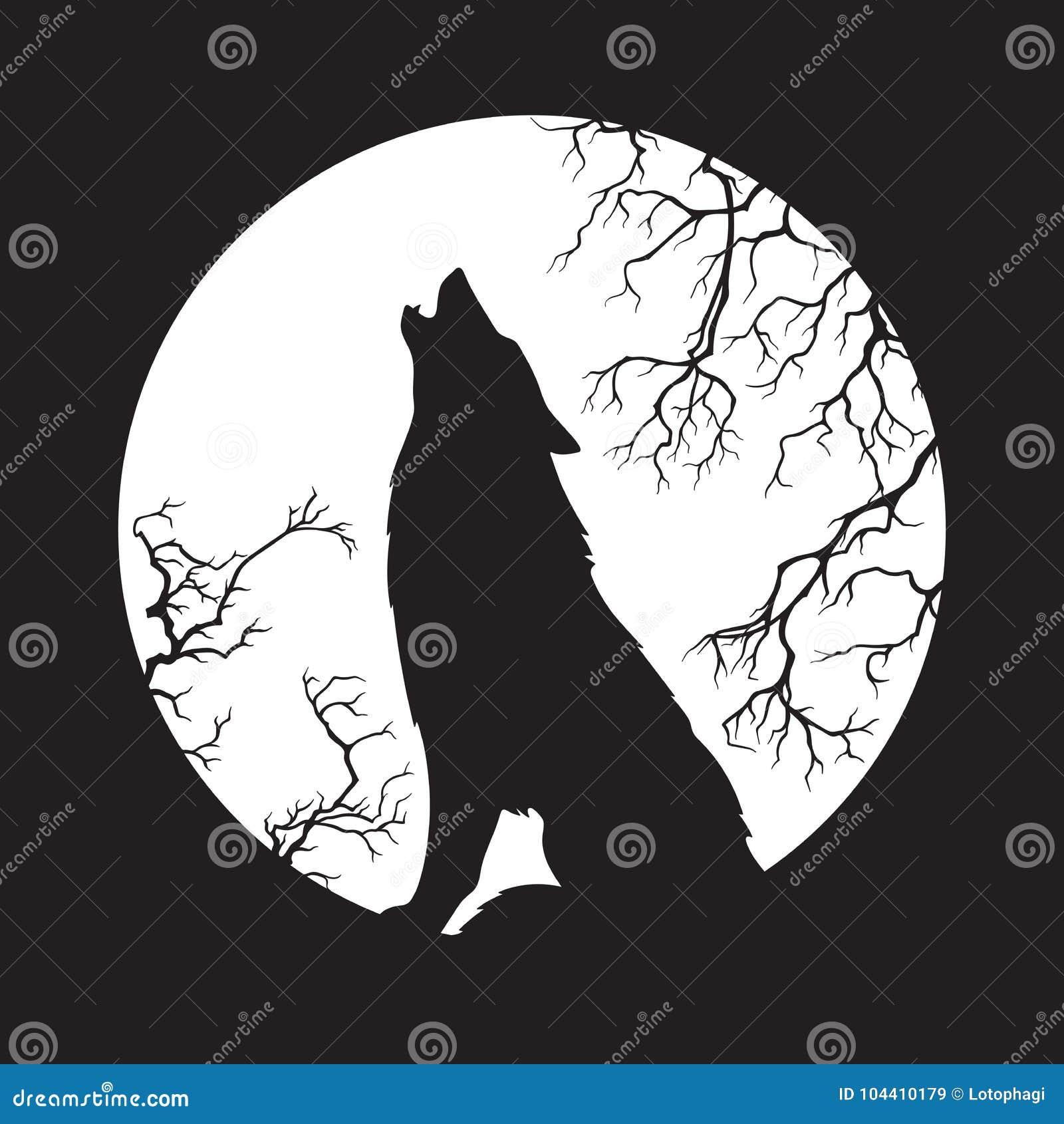 Silhouette De Loup Hurlant A L Illustration De Vecteur De Pleine
