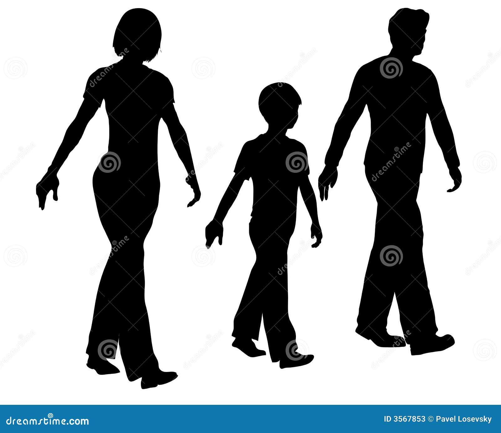 Silhouette De Marche De Famille Photos stock