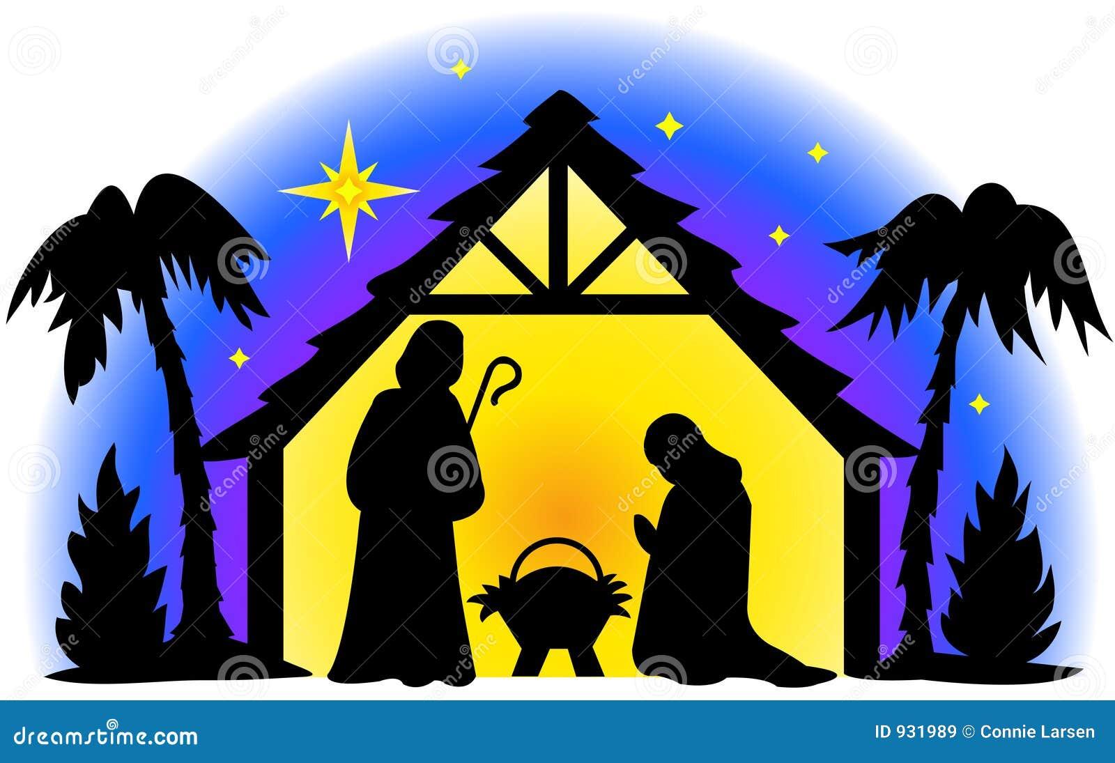 Silhouette de nativité illustration stock. Illustration du ...