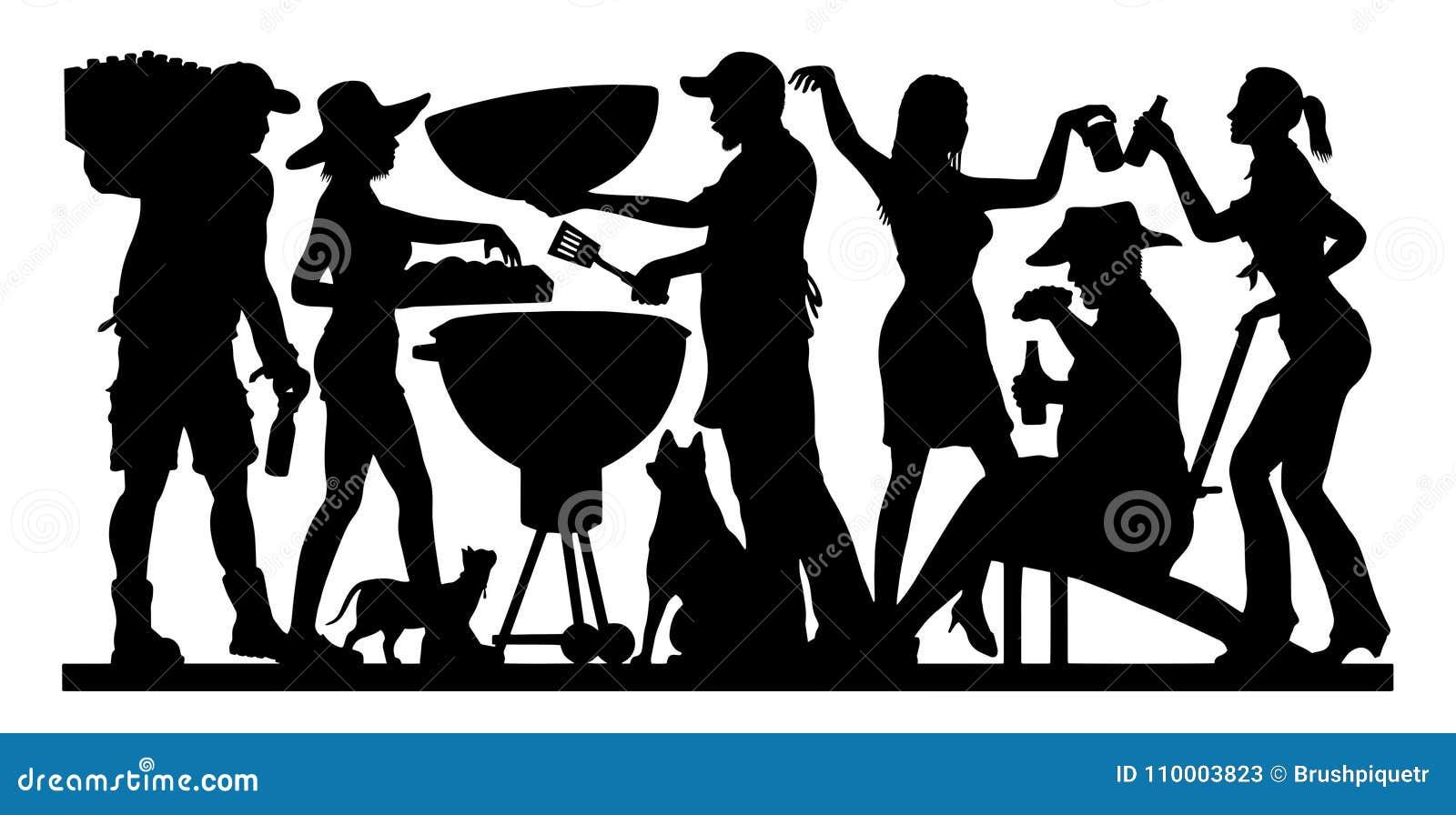 Silhouette de partie de barbecue - Memorial Day