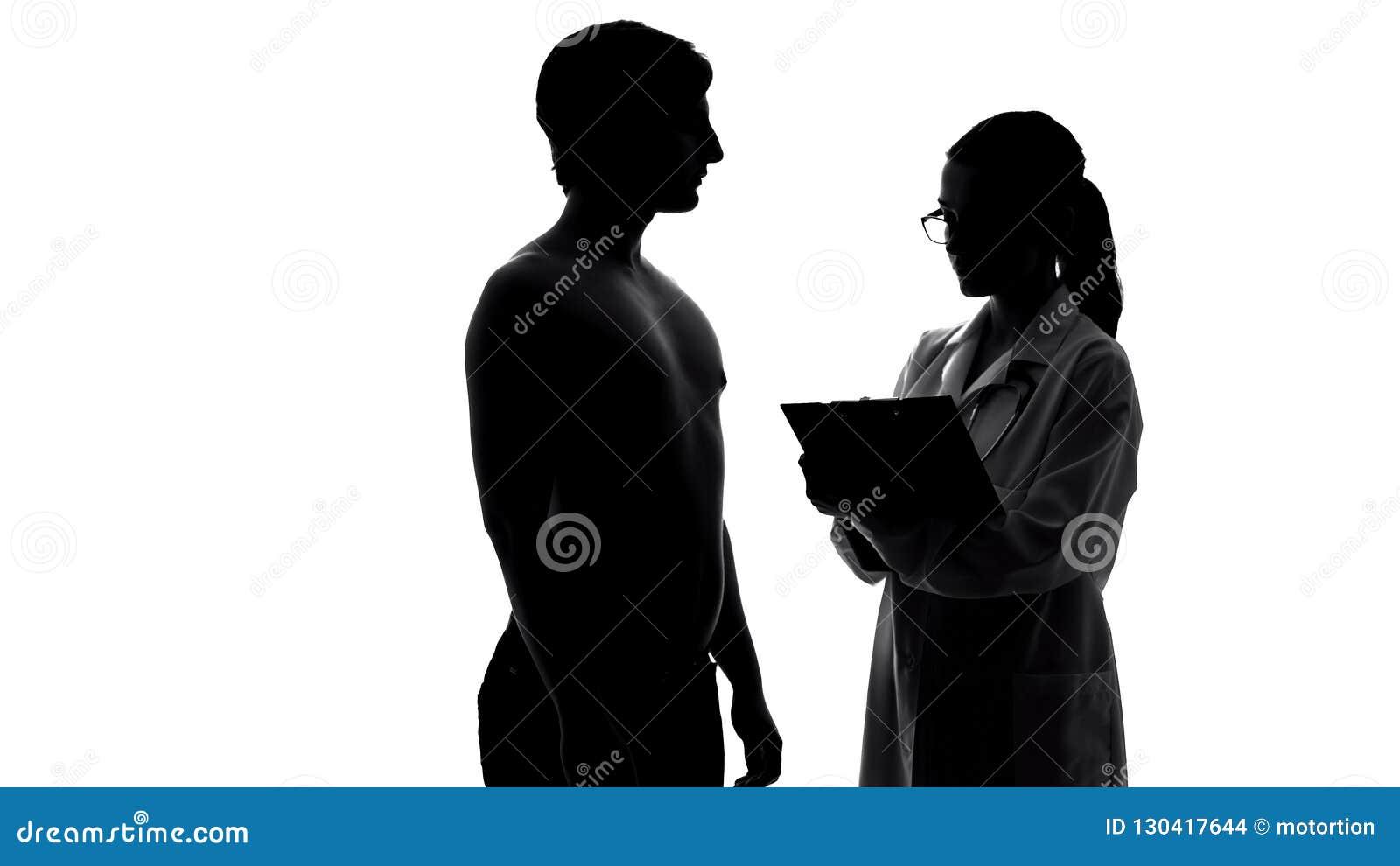 Silhouette de patient masculin de examen, de soins de santé et de médecine de docteur féminin