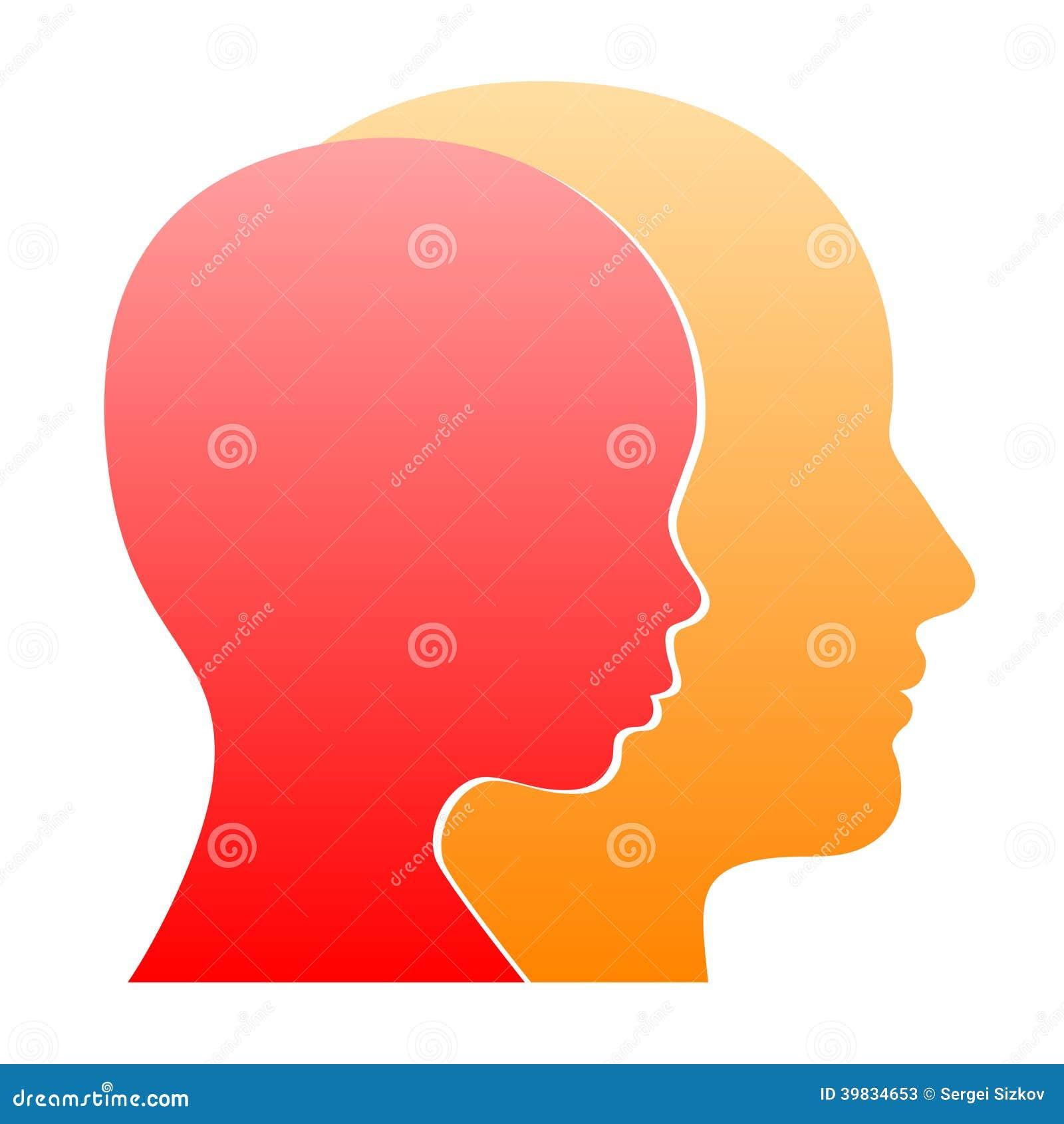 Silhouette de profil de visage d 39 homme et de femme - Dessin profil ...