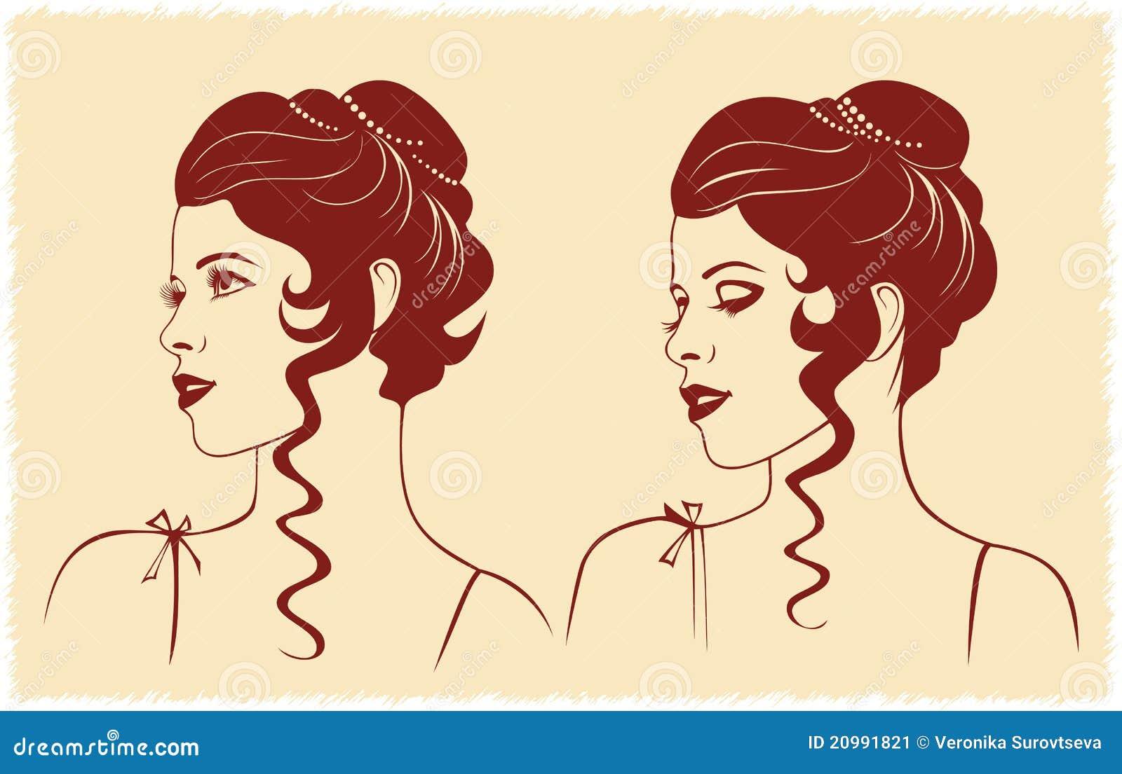 Silhouette de profil de visage de femme illustration de vecteur illustration du isolement - Visage profil dessin ...