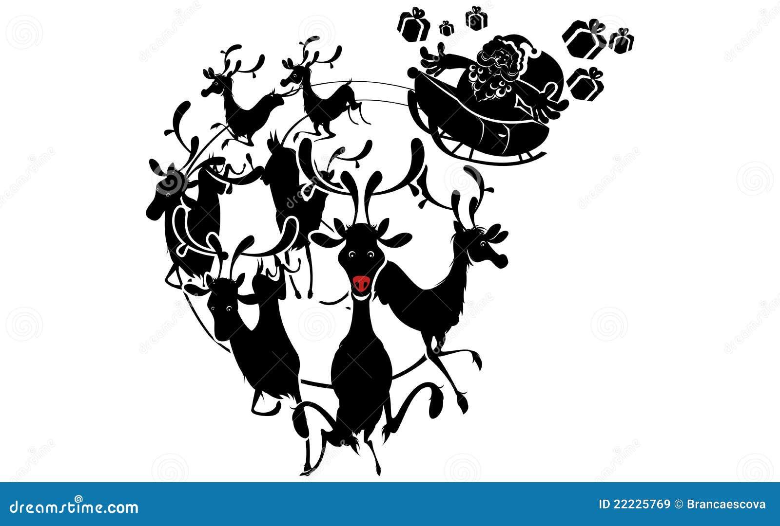 silhouette de renne et no l du p re no l images libres de droits image 22225769. Black Bedroom Furniture Sets. Home Design Ideas