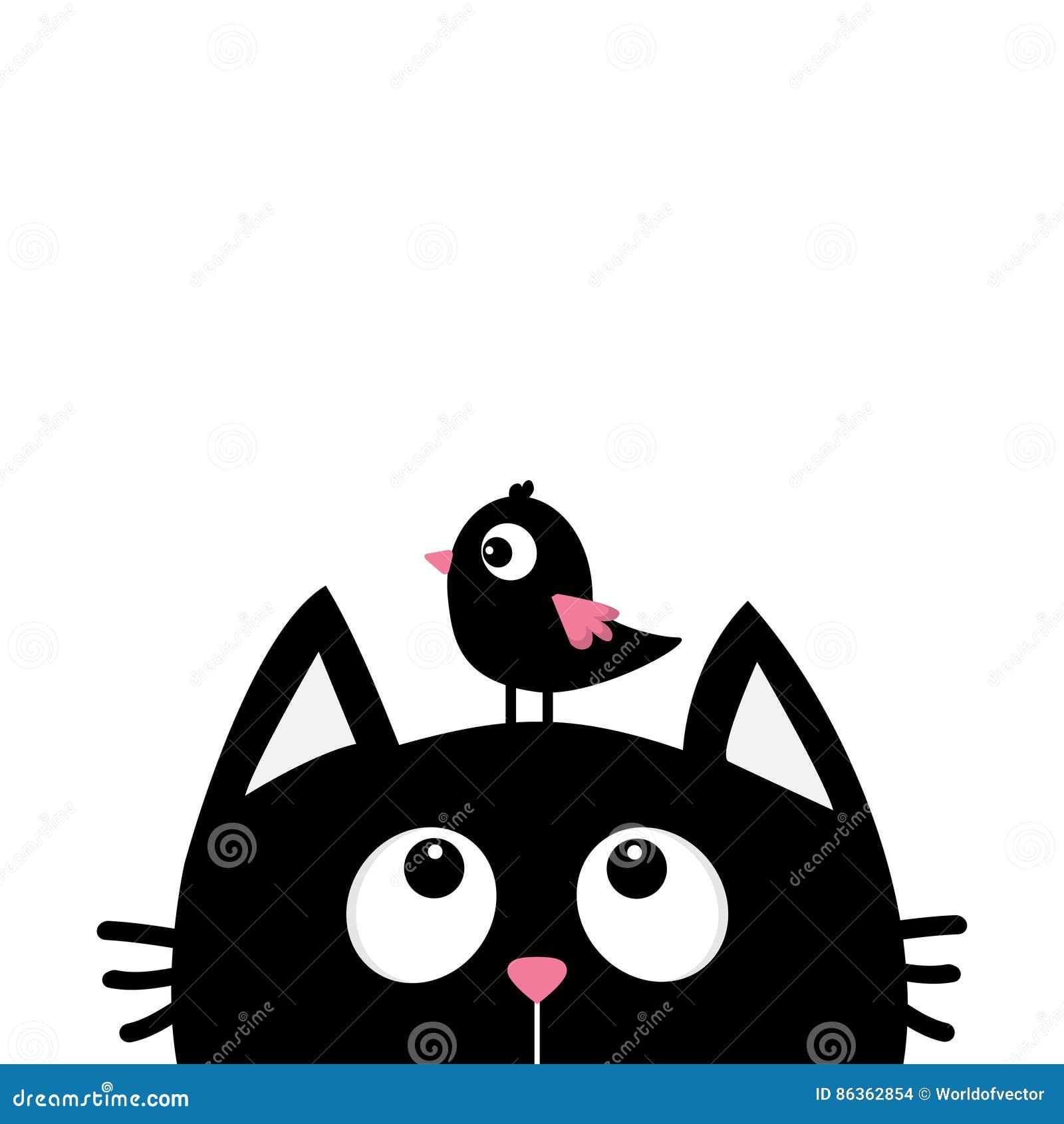 Silhouette De Tête De Visage De Chat Noir Recherchant à L