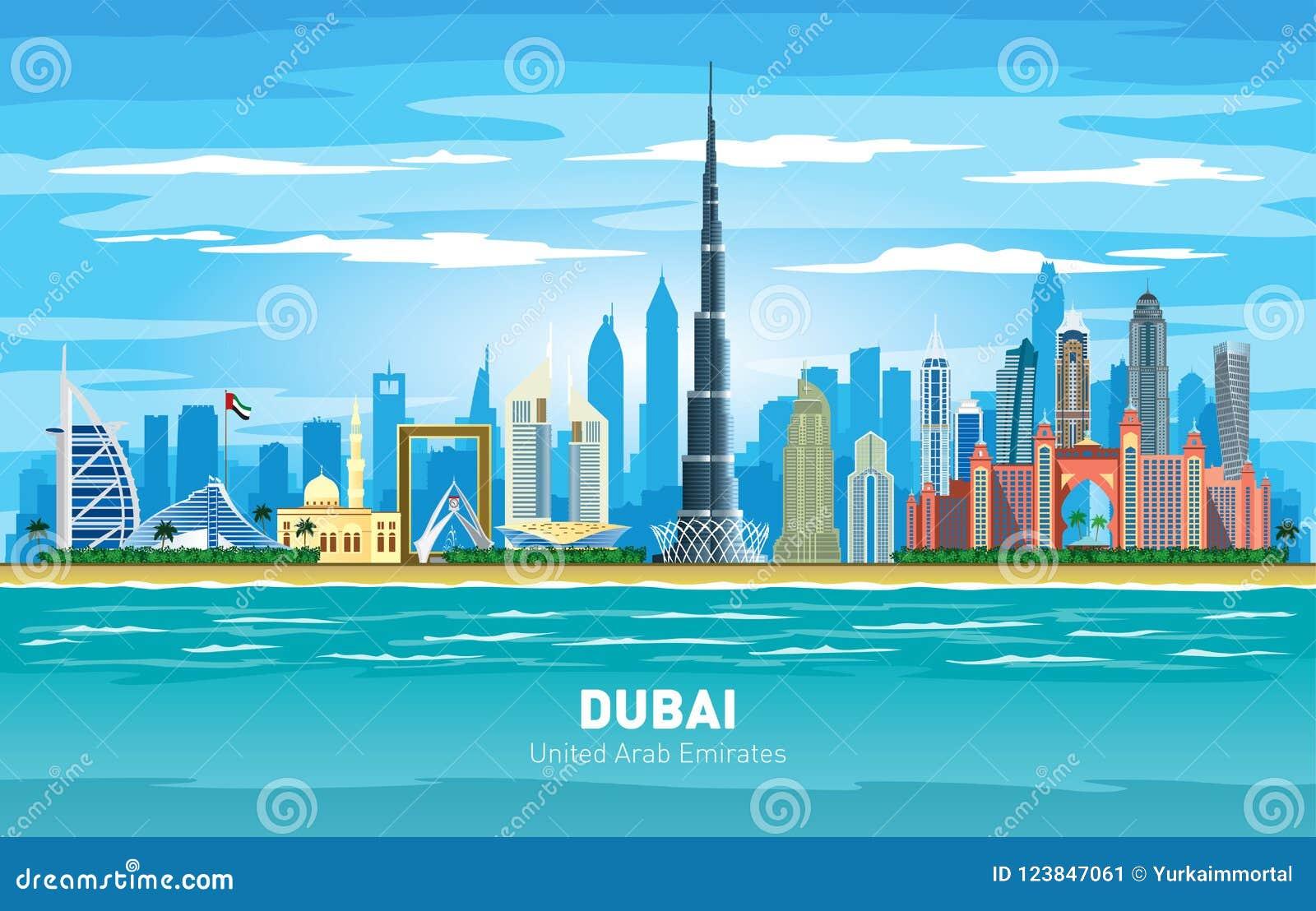 Silhouette de vecteur de couleur d horizon de ville de Dubaï EAU