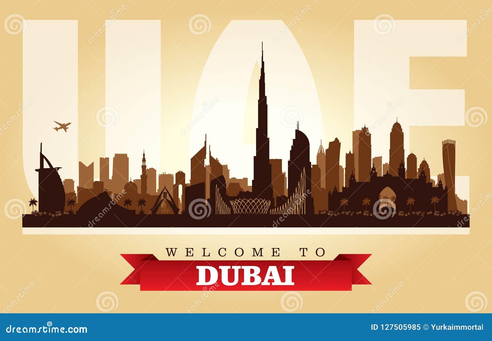 Silhouette de vecteur d horizon de ville de Dubaï EAU