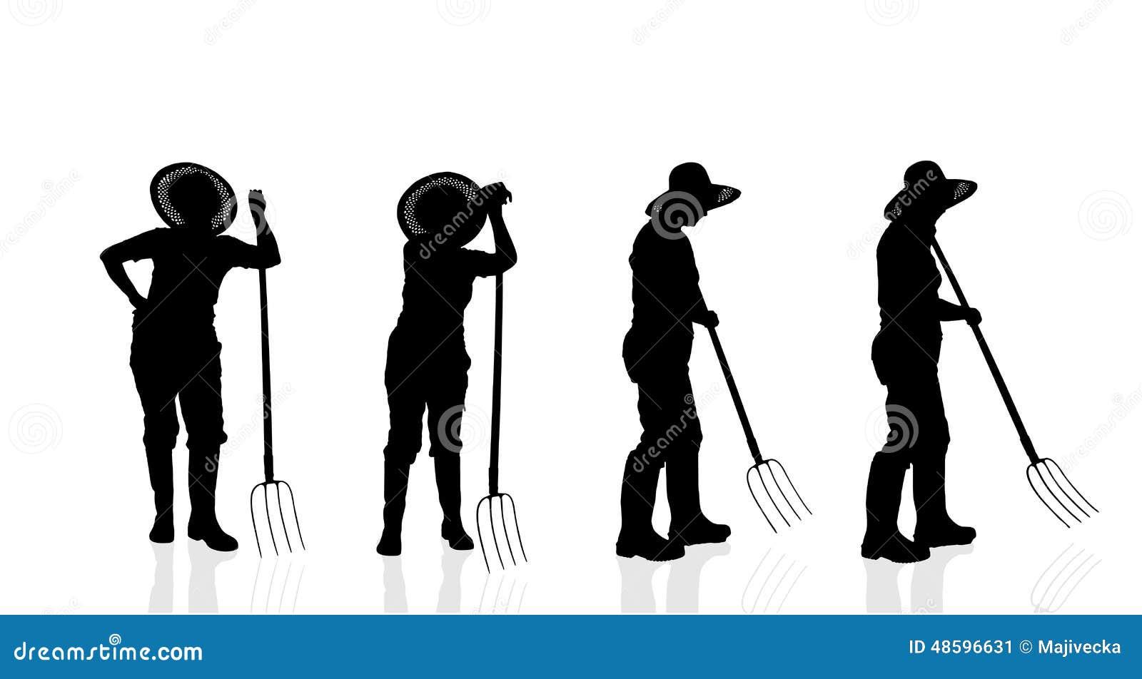 silhouette de vecteur d 39 un jardinier illustration de vecteur illustration du travail outils. Black Bedroom Furniture Sets. Home Design Ideas
