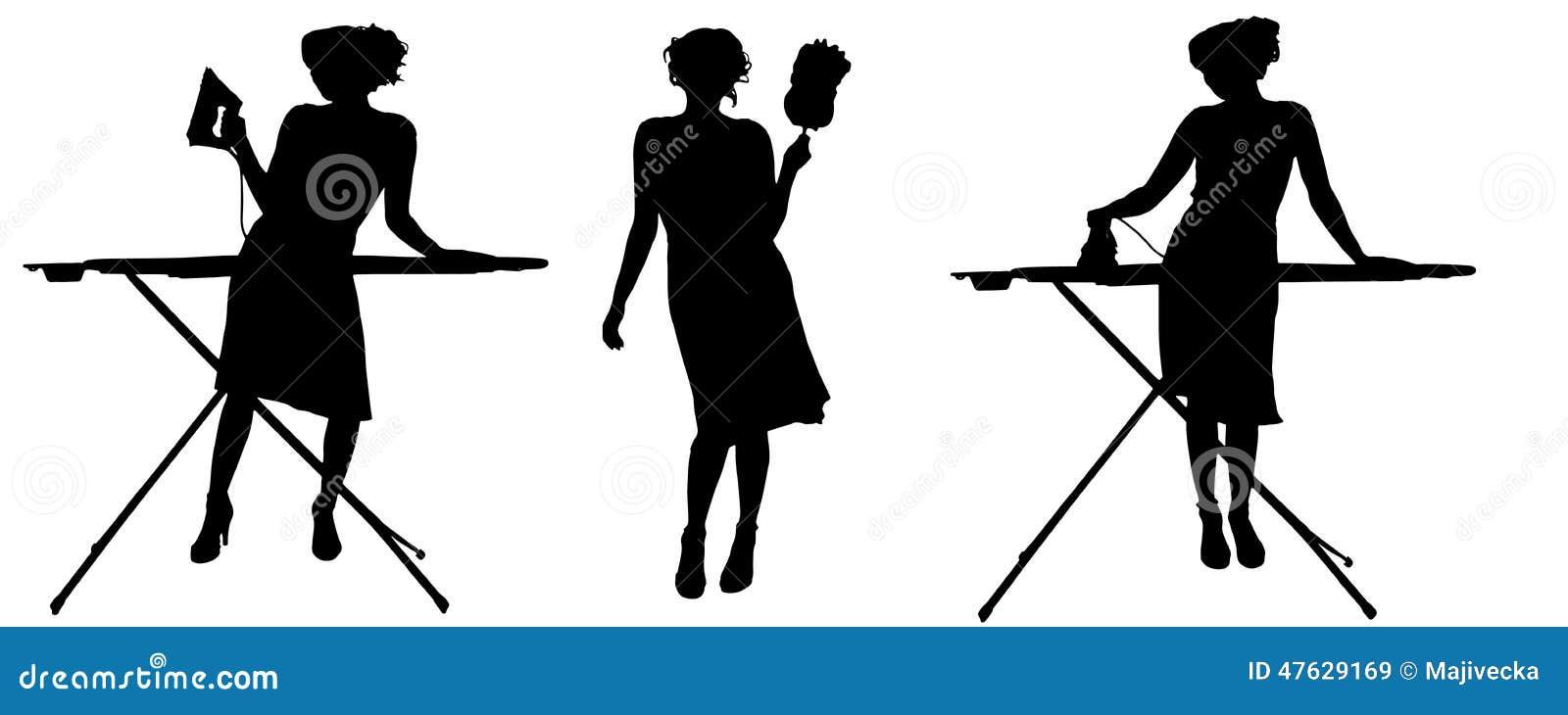 silhouette de vecteur d 39 une femme de m nage illustration de vecteur image 47629169. Black Bedroom Furniture Sets. Home Design Ideas