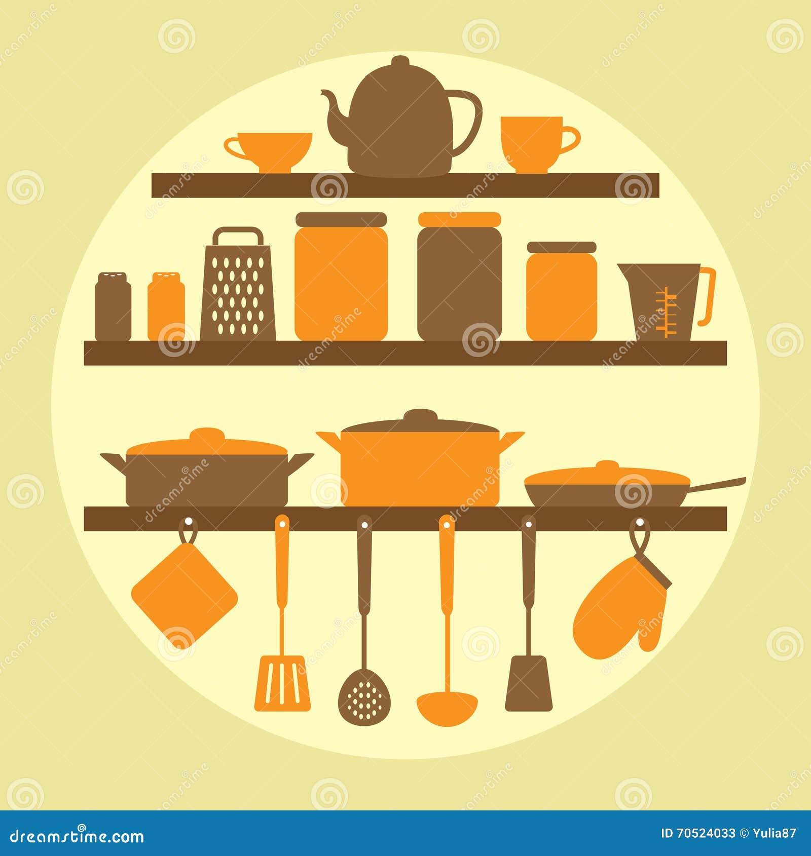 Silhouette De Vecteur Des Outils De Cuisine Illustration
