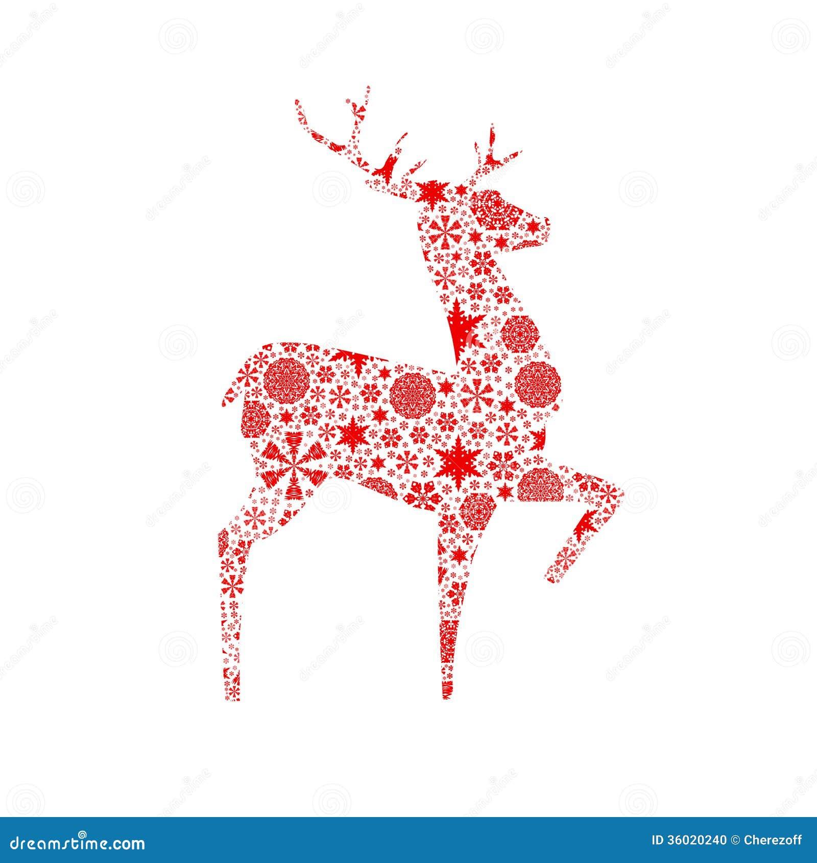 Silhouette Deer. Christmas Card Stock Photo - Image: 36020240