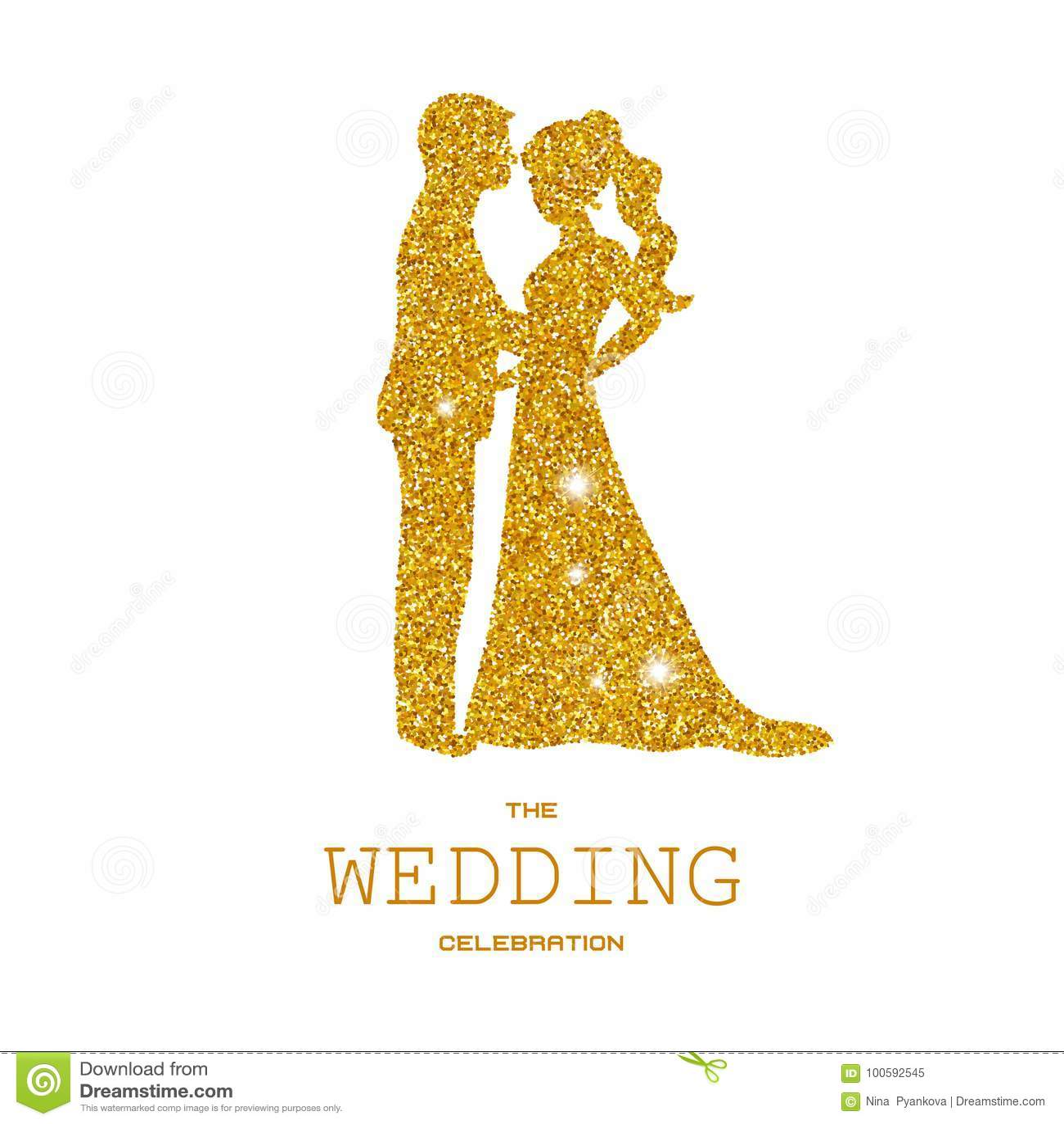 Silhouette des ajouter de mariage aux scintillements d or