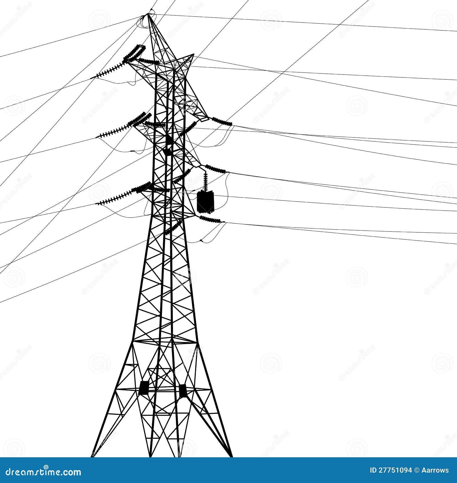 Silhouette des lignes électriques à haute tension.