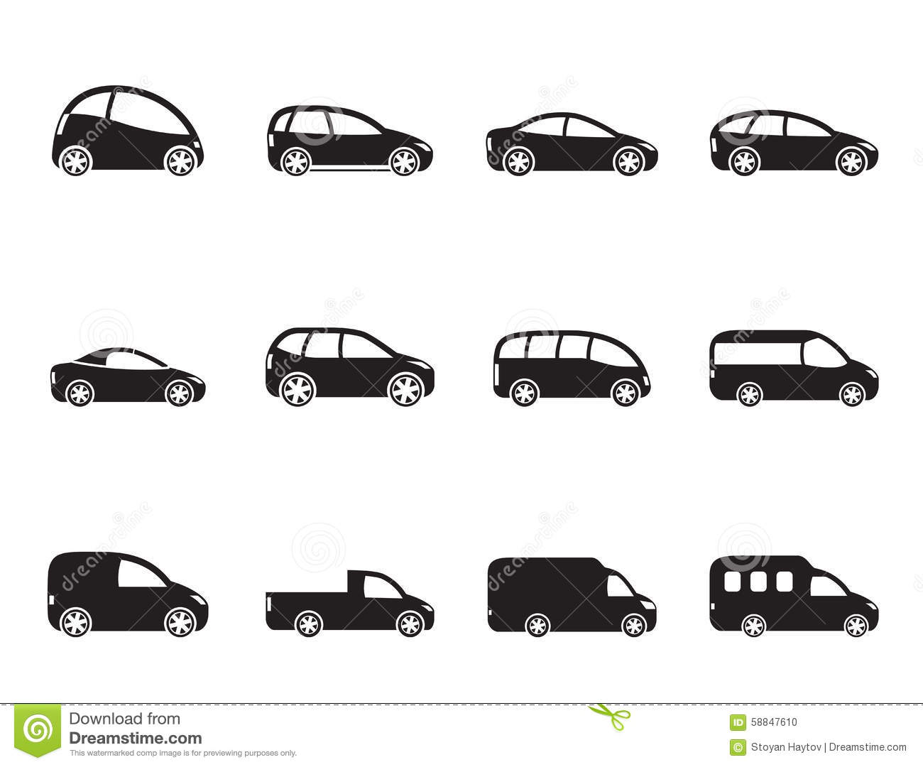 Stock Illustration Silhouette Different Types Cars Icons Vector Icon Set Image58847610 on toyota truck clip art
