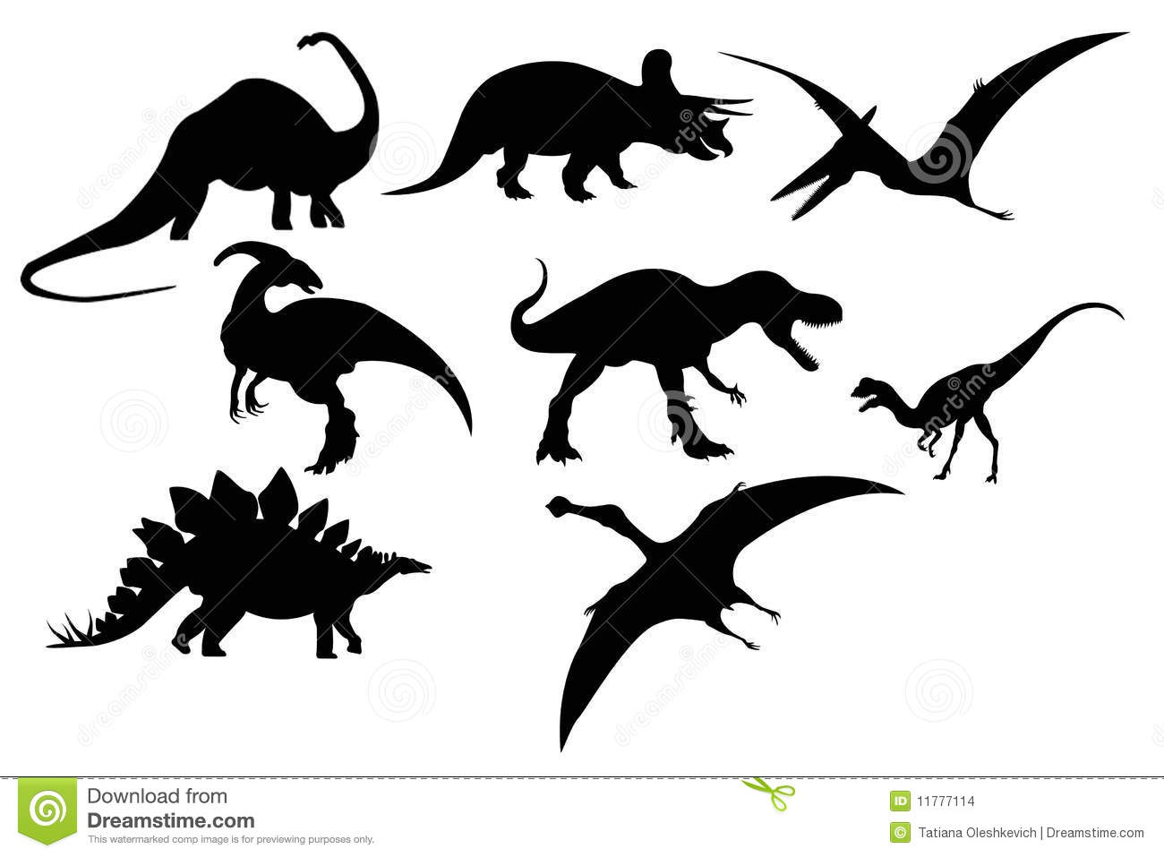 Silhouette Of Dinosaur Set Stock Images - Image: 11777114