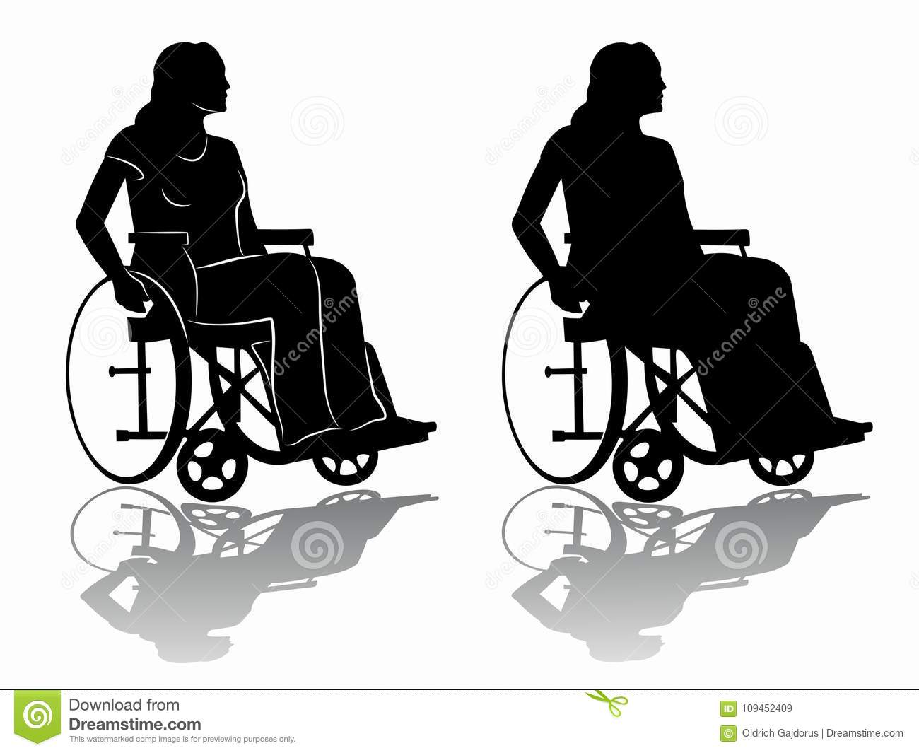 Silhouette Of A Disabled Person In Wheelchair Vector Draw